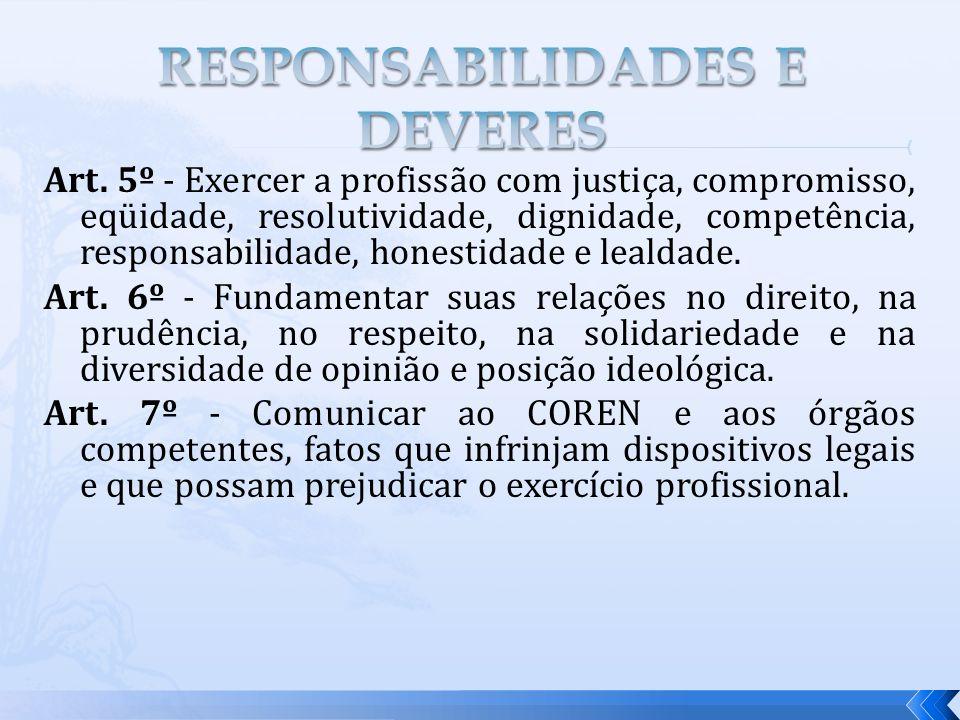 Art. 5º - Exercer a profissão com justiça, compromisso, eqüidade, resolutividade, dignidade, competência, responsabilidade, honestidade e lealdade. Ar