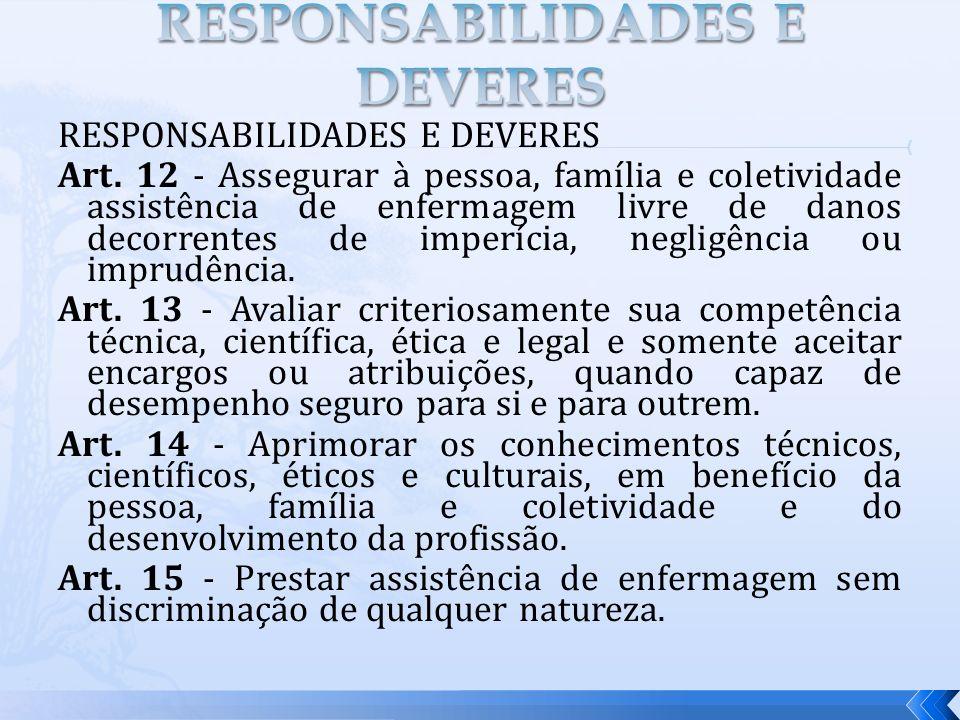 RESPONSABILIDADES E DEVERES Art. 12 - Assegurar à pessoa, família e coletividade assistência de enfermagem livre de danos decorrentes de imperícia, ne