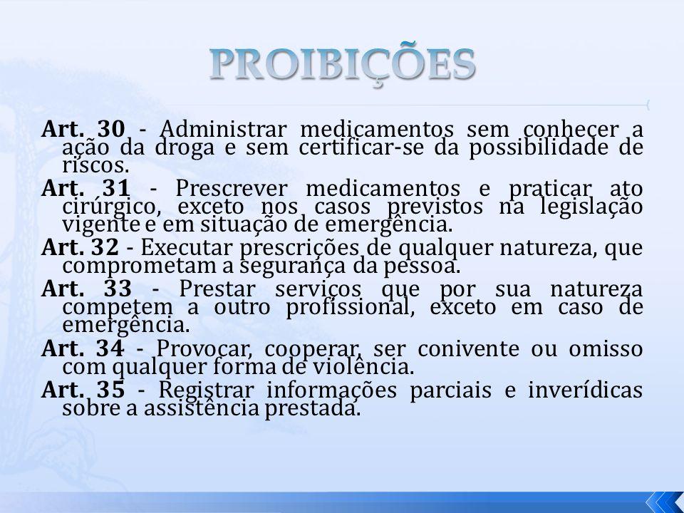 Art. 30 - Administrar medicamentos sem conhecer a ação da droga e sem certificar-se da possibilidade de riscos. Art. 31 - Prescrever medicamentos e pr