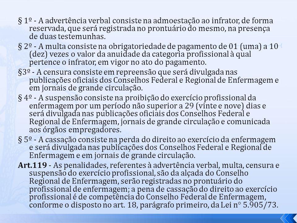 § 1º - A advertência verbal consiste na admoestação ao infrator, de forma reservada, que será registrada no prontuário do mesmo, na presença de duas t