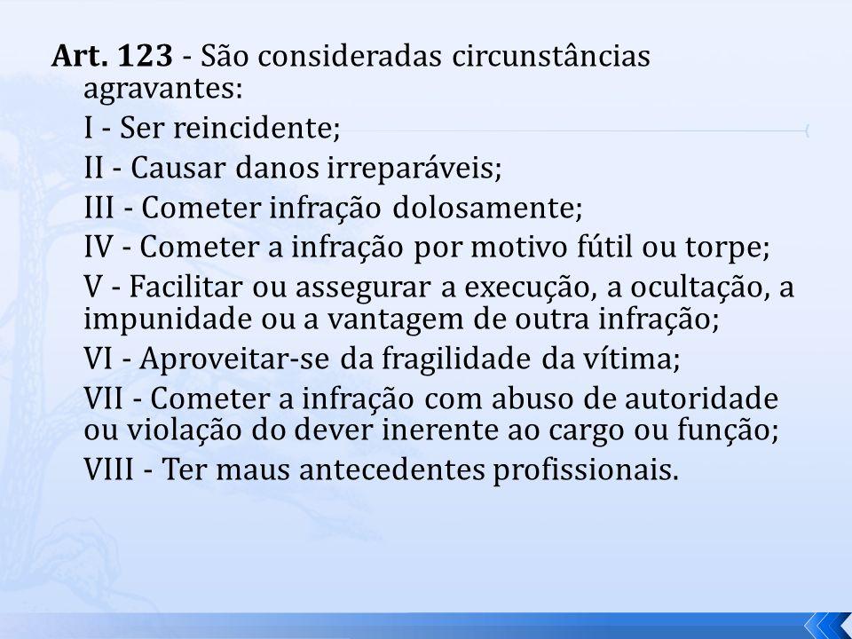 Art. 123 - São consideradas circunstâncias agravantes: I - Ser reincidente; II - Causar danos irreparáveis; III - Cometer infração dolosamente; IV - C
