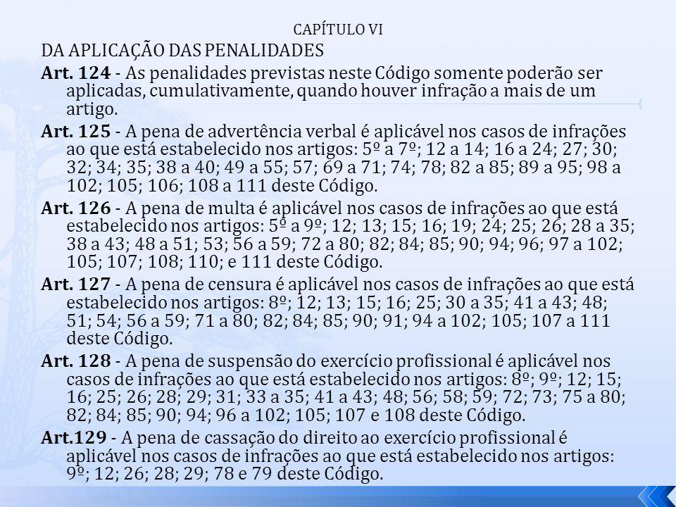 CAPÍTULO VI DA APLICAÇÃO DAS PENALIDADES Art. 124 - As penalidades previstas neste Código somente poderão ser aplicadas, cumulativamente, quando houve