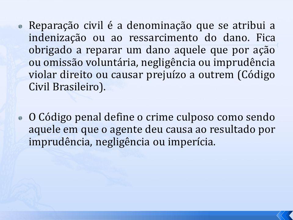 Reparação civil é a denominação que se atribui a indenização ou ao ressarcimento do dano. Fica obrigado a reparar um dano aquele que por ação ou omiss