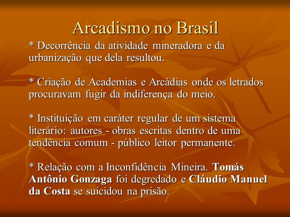Arcadismo no Brasil * Decorrência da atividade mineradora e da urbanização que dela resultou. * Criação de Academias e Arcádias onde os letrados procu