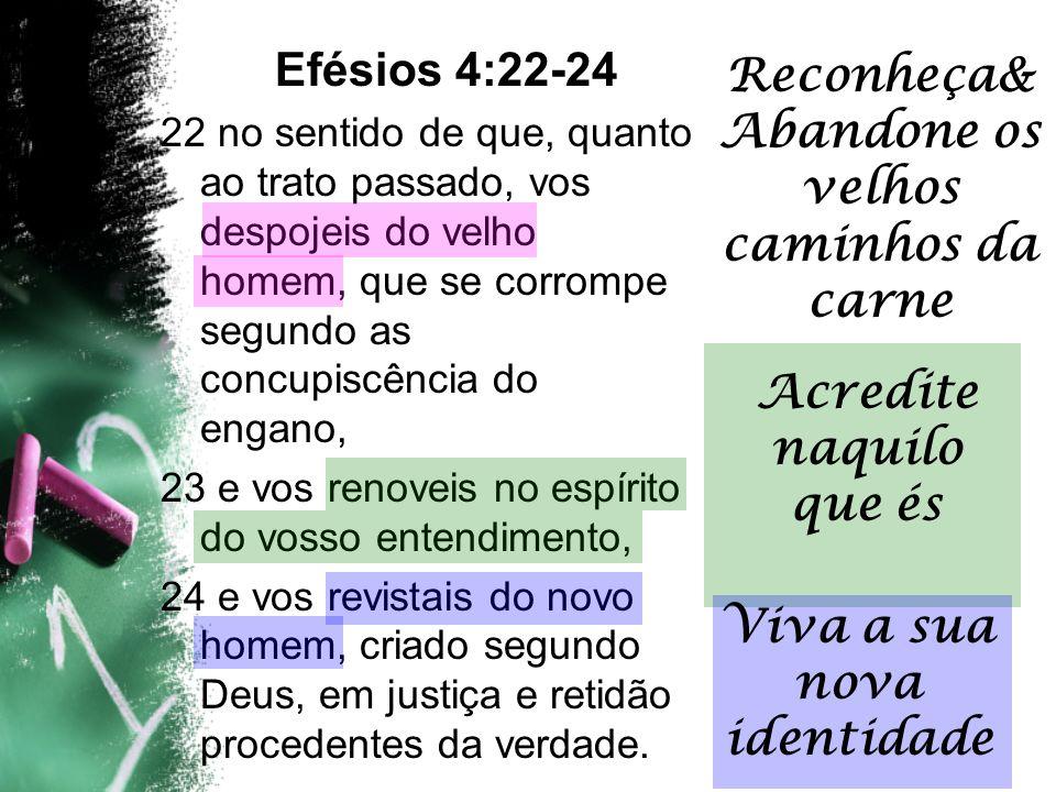 Efésios 4:22-24 22 no sentido de que, quanto ao trato passado, vos despojeis do velho homem, que se corrompe segundo as concupiscência do engano, 23 e