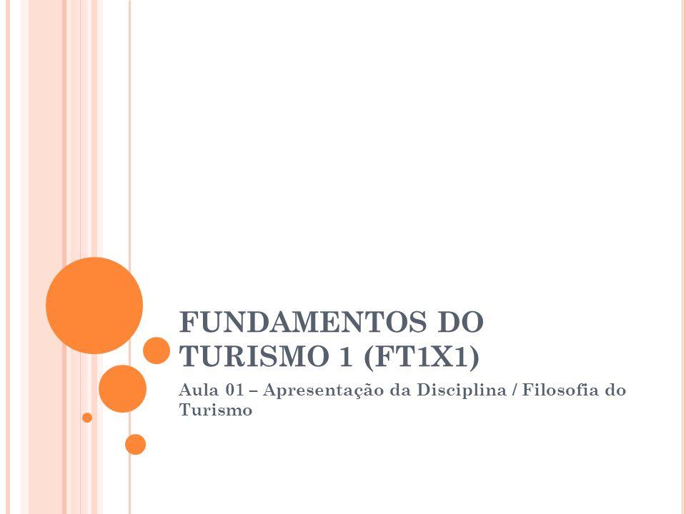 FUNDAMENTOS DO TURISMO 1 (FT1X1) Aula 01 – Apresentação da Disciplina / Filosofia do Turismo