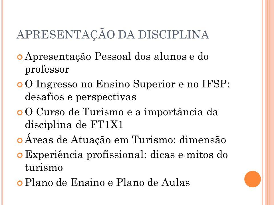 APRESENTAÇÃO DA DISCIPLINA Apresentação Pessoal dos alunos e do professor O Ingresso no Ensino Superior e no IFSP: desafios e perspectivas O Curso de