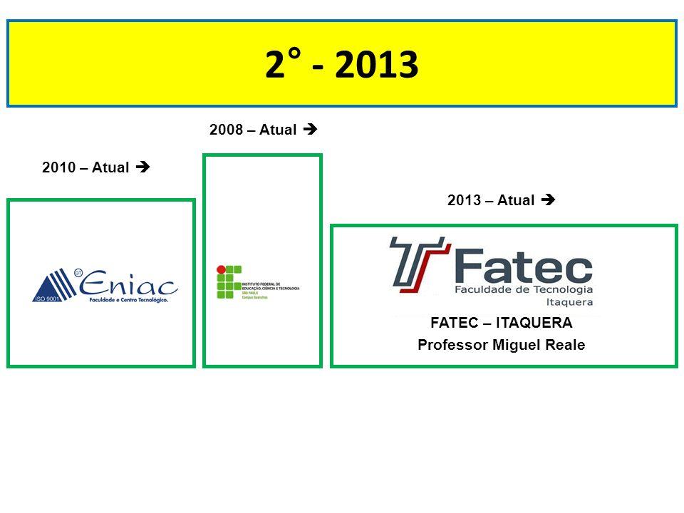 2° - 2013 2010 – Atual 2008 – Atual 2013 – Atual FATEC – ITAQUERA Professor Miguel Reale