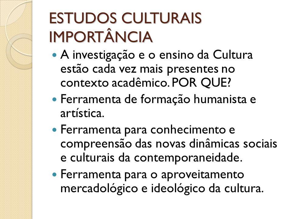 ESTUDOS CULTURAIS IMPORTÂNCIA A investigação e o ensino da Cultura estão cada vez mais presentes no contexto acadêmico. POR QUE? Ferramenta de formaçã