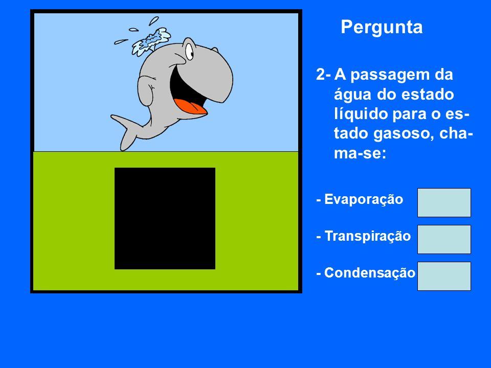 Pergunta 2- A passagem da água do estado líquido para o es- tado gasoso, cha- ma-se: - Evaporação - Transpiração - Condensação