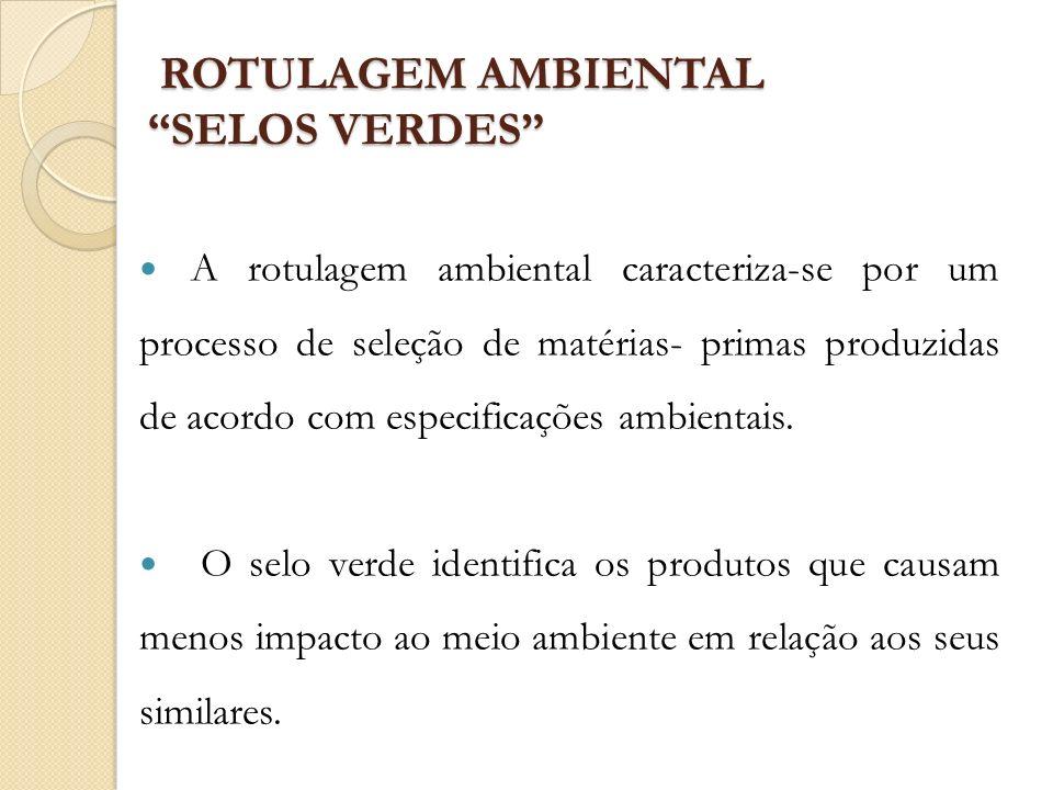 ROTULAGEM AMBIENTAL SELOS VERDES ROTULAGEM AMBIENTAL SELOS VERDES A rotulagem ambiental caracteriza-se por um processo de seleção de matérias- primas