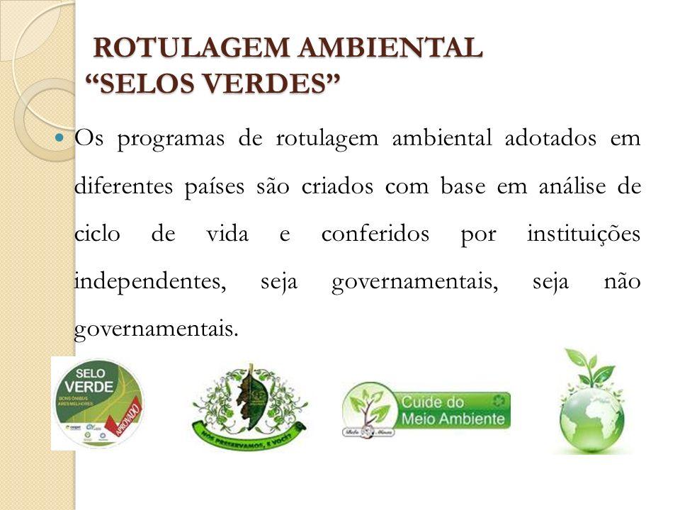 ROTULAGEM AMBIENTAL SELOS VERDES ROTULAGEM AMBIENTAL SELOS VERDES Os programas de rotulagem ambiental adotados em diferentes países são criados com ba