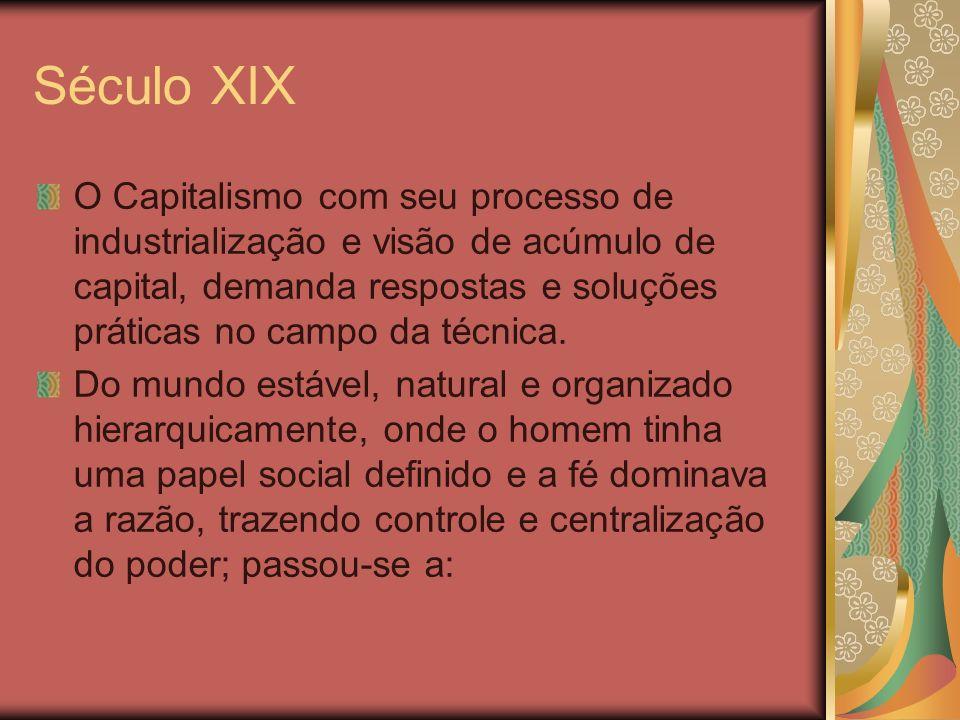 Século XIX O Capitalismo com seu processo de industrialização e visão de acúmulo de capital, demanda respostas e soluções práticas no campo da técnica