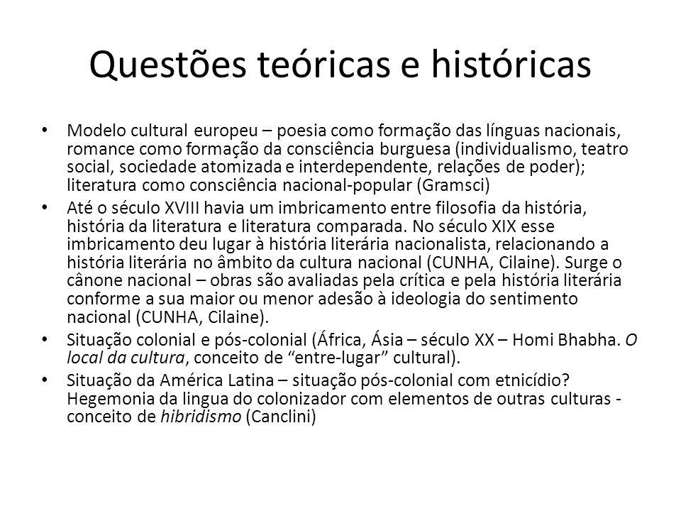 Questões teóricas e históricas Modelo cultural europeu – poesia como formação das línguas nacionais, romance como formação da consciência burguesa (in