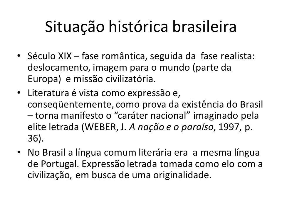 Situação histórica brasileira Século XIX – fase romântica, seguida da fase realista: deslocamento, imagem para o mundo (parte da Europa) e missão civi