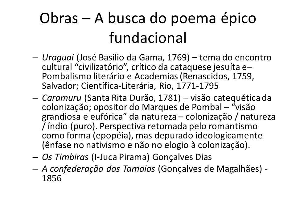 Obras – A busca do poema épico fundacional – Uraguai (José Basilio da Gama, 1769) – tema do encontro cultural civilizatório, crítico da cataquese jesu