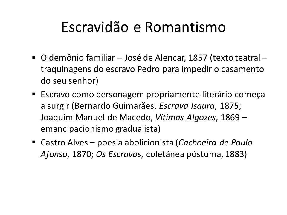 Escravidão e Romantismo O demônio familiar – José de Alencar, 1857 (texto teatral – traquinagens do escravo Pedro para impedir o casamento do seu senh