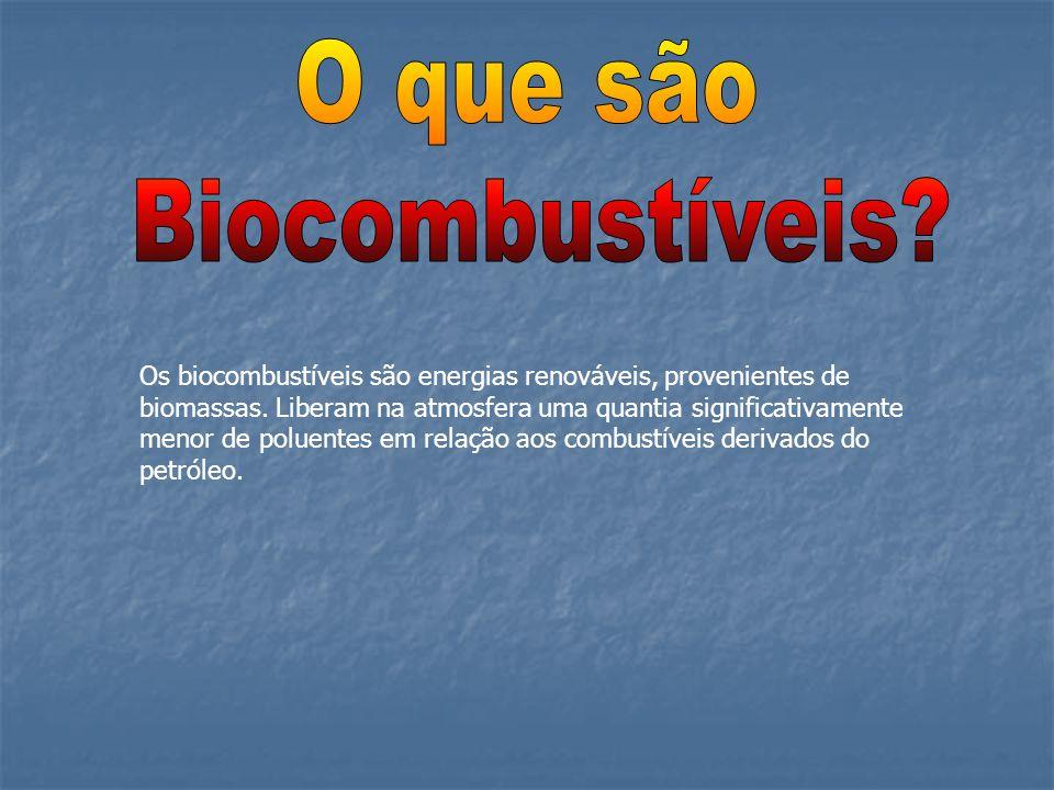 Os biocombustíveis são energias renováveis, provenientes de biomassas. Liberam na atmosfera uma quantia significativamente menor de poluentes em relaç
