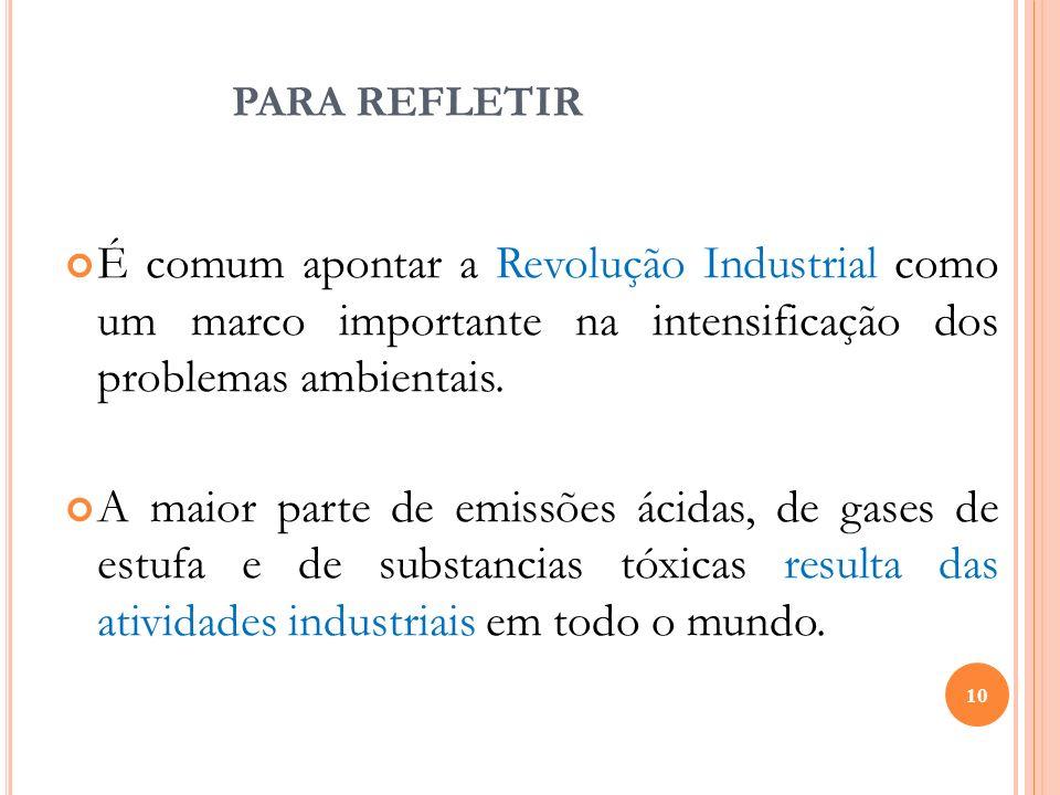 PARA REFLETIR É comum apontar a Revolução Industrial como um marco importante na intensificação dos problemas ambientais. A maior parte de emissões ác
