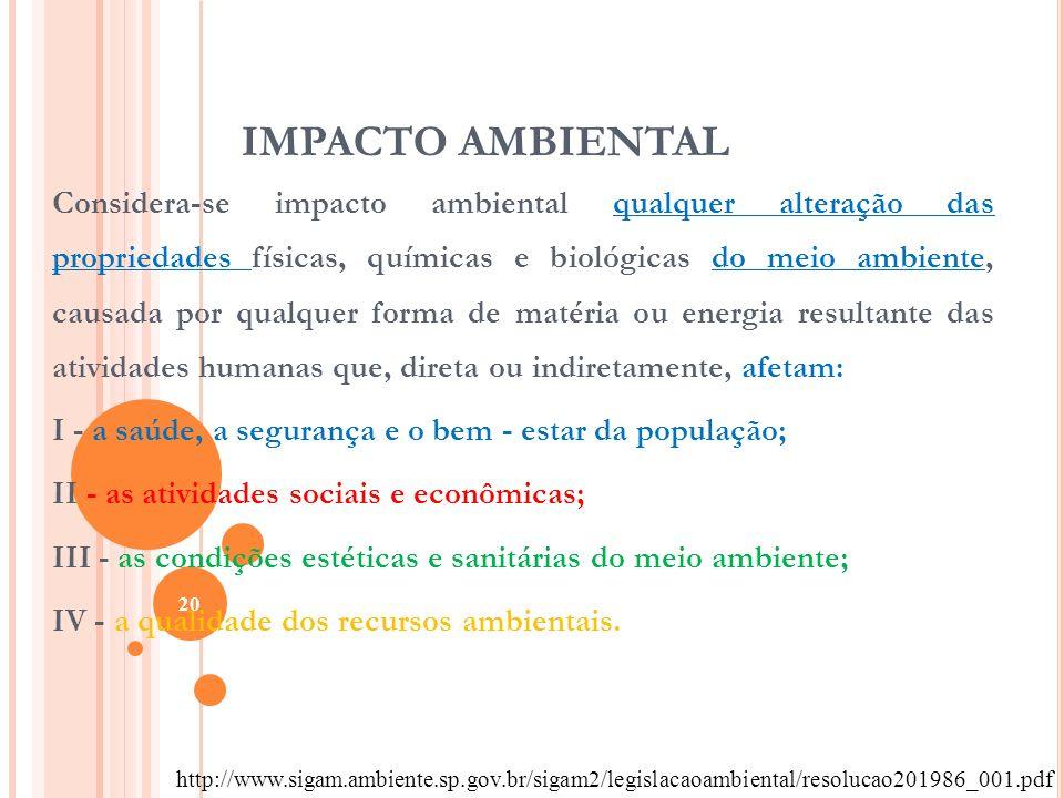 IMPACTO AMBIENTAL Considera-se impacto ambiental qualquer alteração das propriedades físicas, químicas e biológicas do meio ambiente, causada por qual