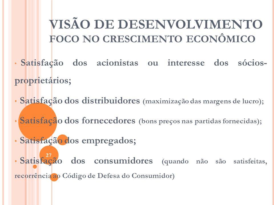 VISÃO DE DESENVOLVIMENTO FOCO NO CRESCIMENTO ECONÔMICO Satisfação dos acionistas ou interesse dos sócios- proprietários; Satisfação dos distribuidores