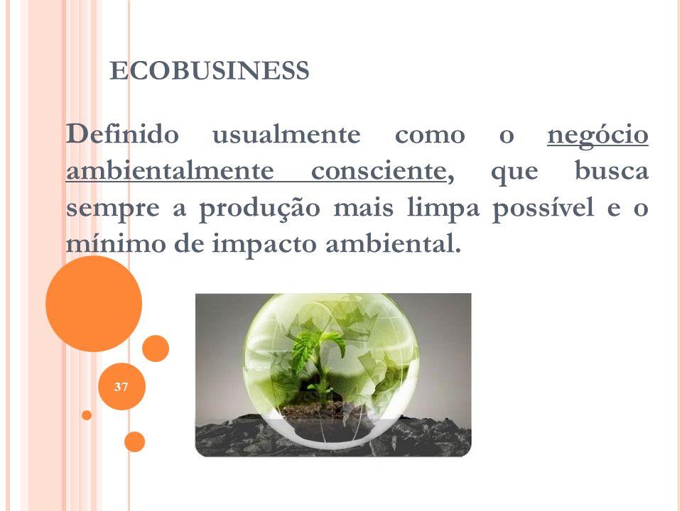 ECOBUSINESS Definido usualmente como o negócio ambientalmente consciente, que busca sempre a produção mais limpa possível e o mínimo de impacto ambien