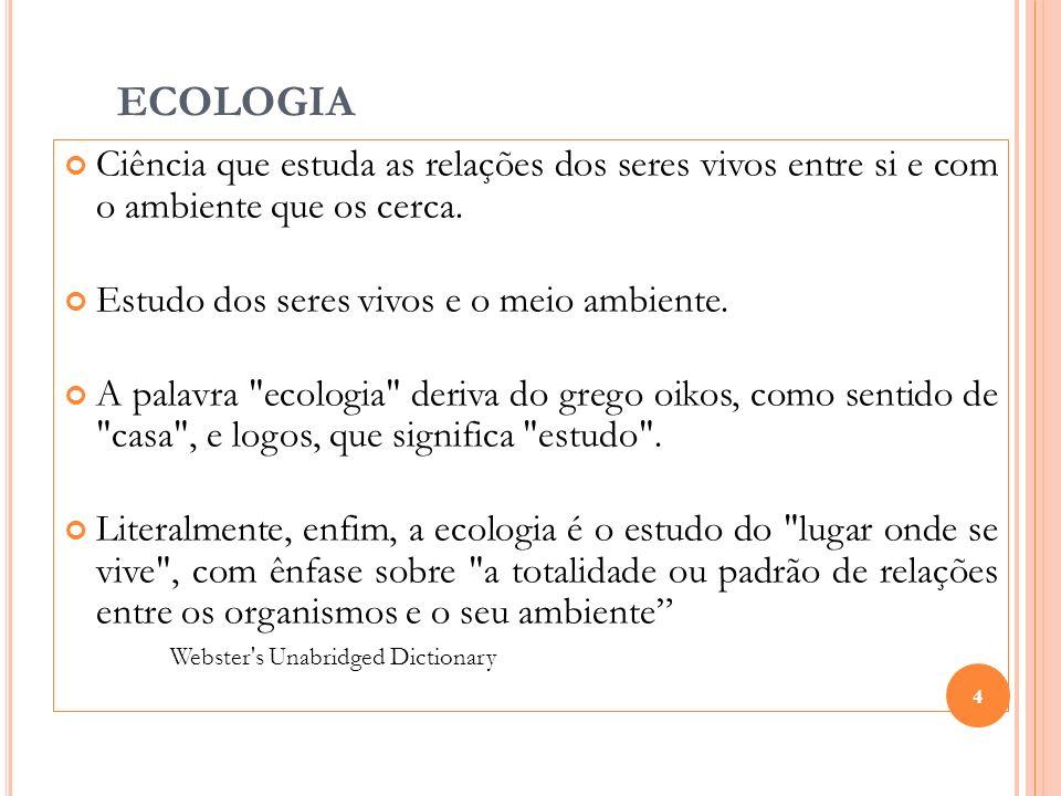 ECOLOGIA Ciência que estuda as relações dos seres vivos entre si e com o ambiente que os cerca. Estudo dos seres vivos e o meio ambiente. A palavra