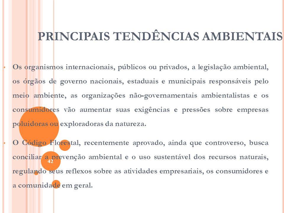 PRINCIPAIS TENDÊNCIAS AMBIENTAIS Os organismos internacionais, públicos ou privados, a legislação ambiental, os órgãos de governo nacionais, estaduais