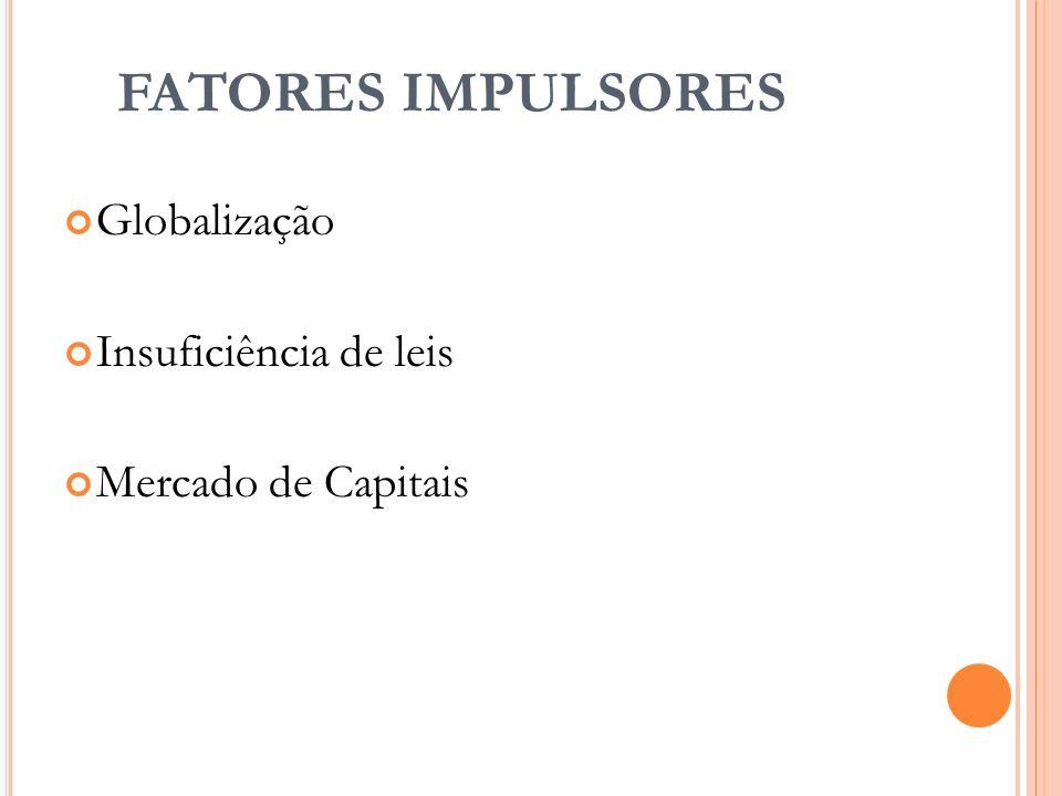 FATORES IMPULSORES Globalização Insuficiência de leis Mercado de Capitais 8