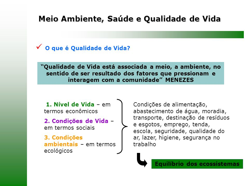 Meio Ambiente, Saúde e Qualidade de Vida O que é Qualidade de Vida? Qualidade de Vida está associada a meio, a ambiente, no sentido de ser resultado d