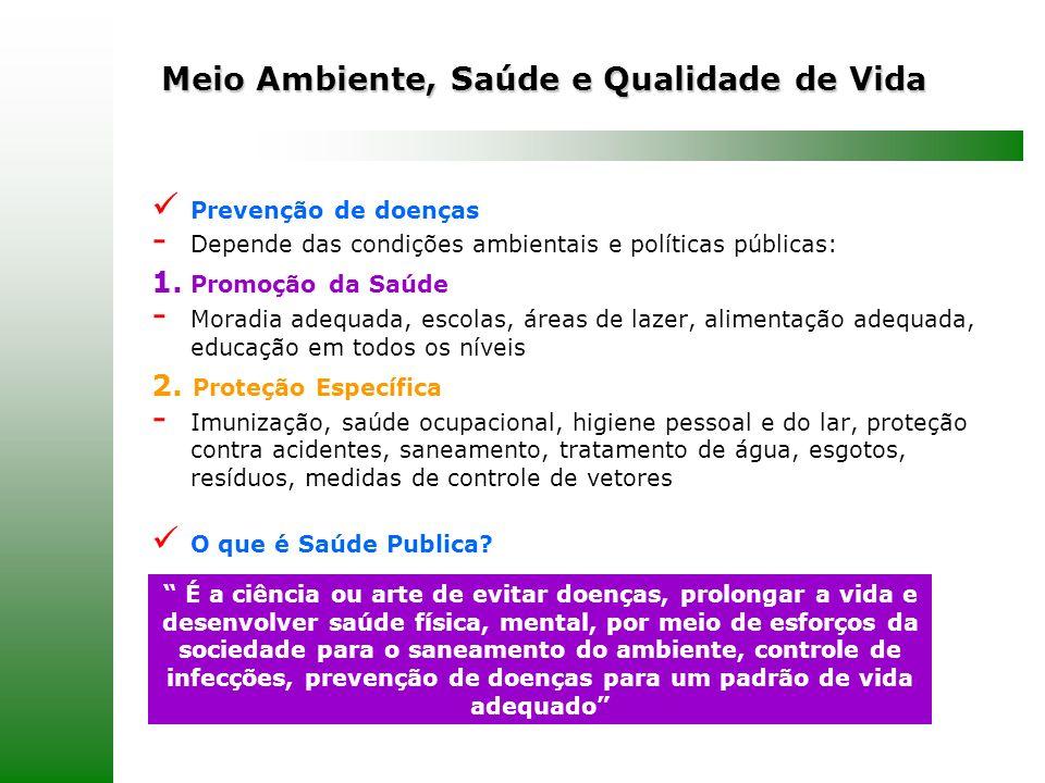 Meio Ambiente, Saúde e Qualidade de Vida Prevenção de doenças - Depende das condições ambientais e políticas públicas: 1. Promoção da Saúde - Moradia
