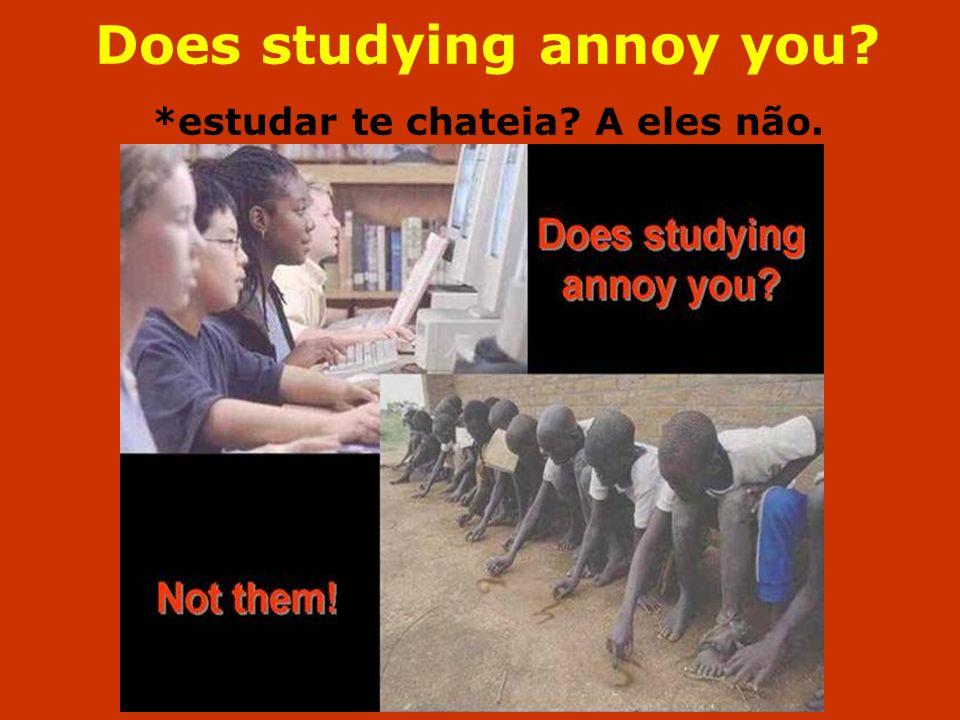 Does studying annoy you? *estudar te chateia? A eles não.