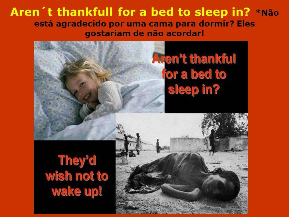 Aren´t thankfull for a bed to sleep in? *Não está agradecido por uma cama para dormir? Eles gostariam de não acordar!