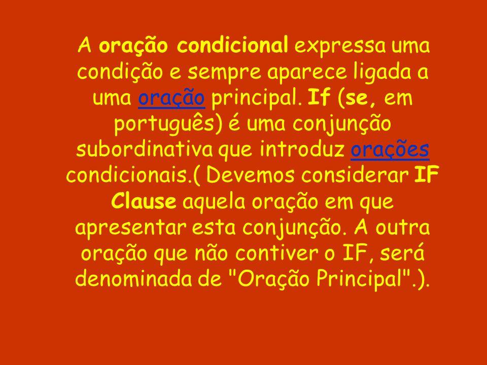 A oração condicional expressa uma condição e sempre aparece ligada a uma oração principal. If (se, em português) é uma conjunção subordinativa que int