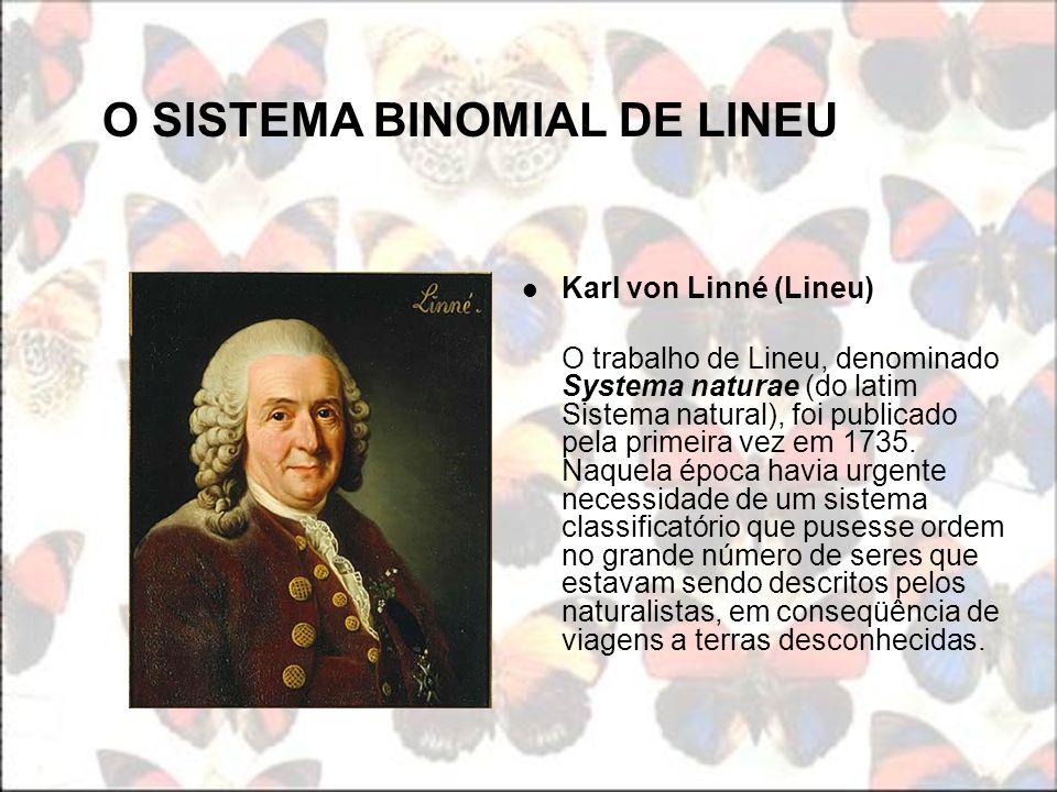 O SISTEMA BINOMIAL DE LINEU Karl von Linné (Lineu) O trabalho de Lineu, denominado Systema naturae (do latim Sistema natural), foi publicado pela prim