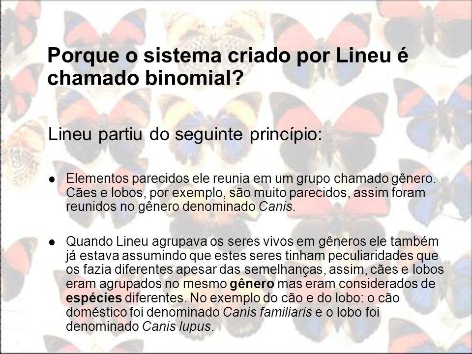 Porque o sistema criado por Lineu é chamado binomial? Lineu partiu do seguinte princípio: Elementos parecidos ele reunia em um grupo chamado gênero. C