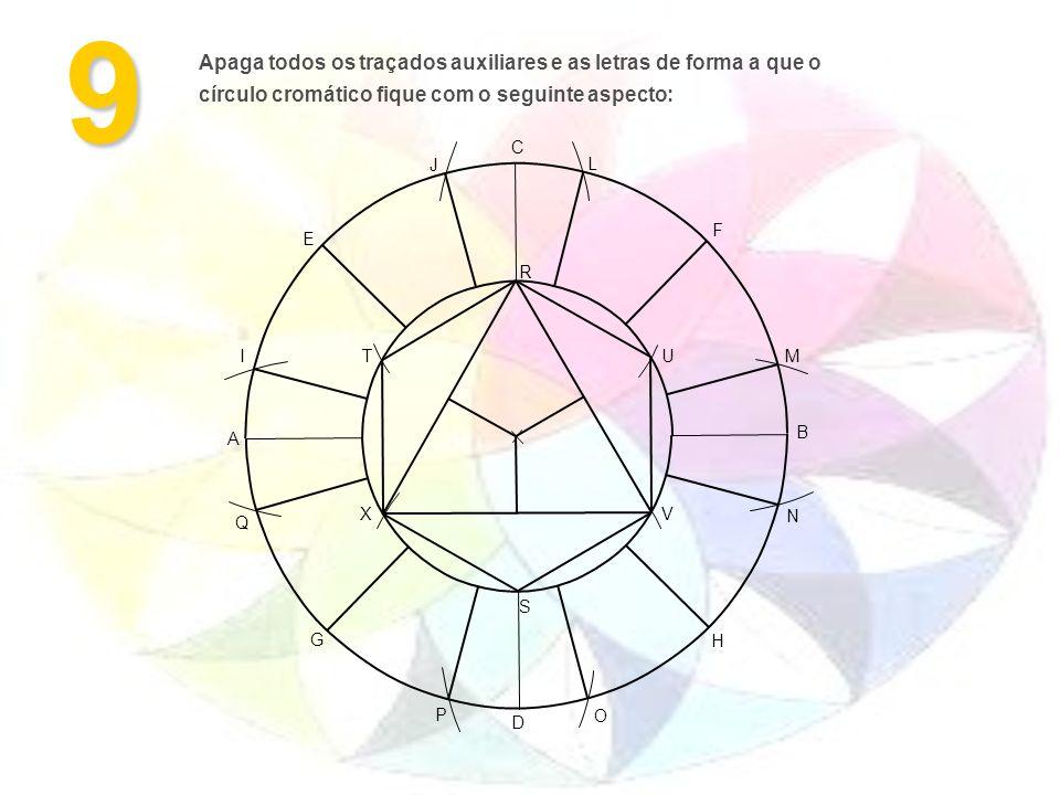 9 A B H G F E D C M L J I O N P Q S R VX UT Apaga todos os traçados auxiliares e as letras de forma a que o círculo cromático fique com o seguinte aspecto: