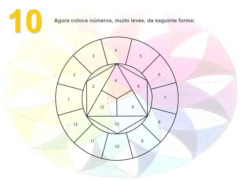10 Agora coloca números, muito leves, da seguinte forma: 1 12 11 10 9 8 7 6 5 4 3 2 2 4 6 8 12