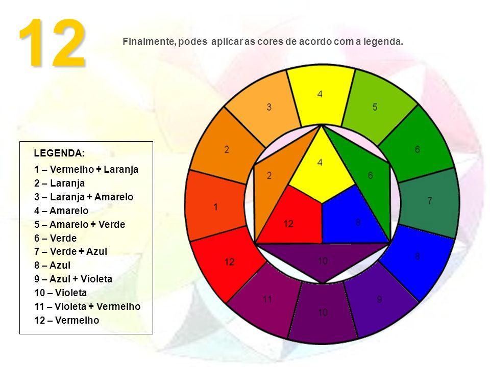 12 Finalmente, podes aplicar as cores de acordo com a legenda. LEGENDA: 1 – Vermelho + Laranja 2 – Laranja 3 – Laranja + Amarelo 4 – Amarelo 5 – Amare