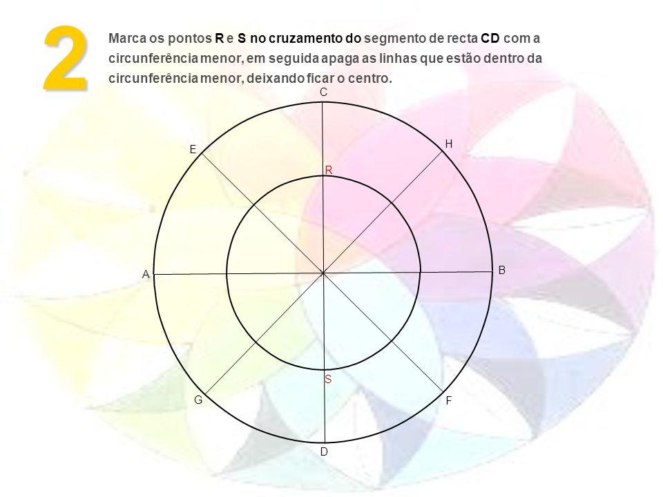 Marca os pontos R e S no cruzamento do segmento de recta CD com a circunferência menor, em seguida apaga as linhas que estão dentro da circunferência menor, deixando ficar o centro.2 D A B F G H E C R S