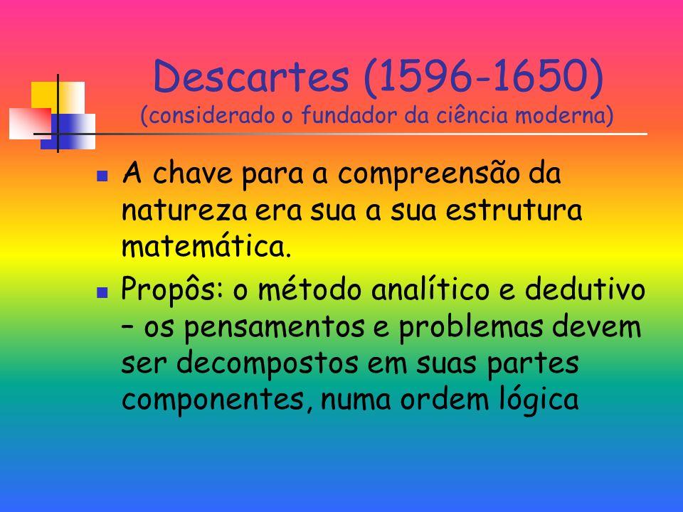 Descartes (1596-1650) (considerado o fundador da ciência moderna) A chave para a compreensão da natureza era sua a sua estrutura matemática.