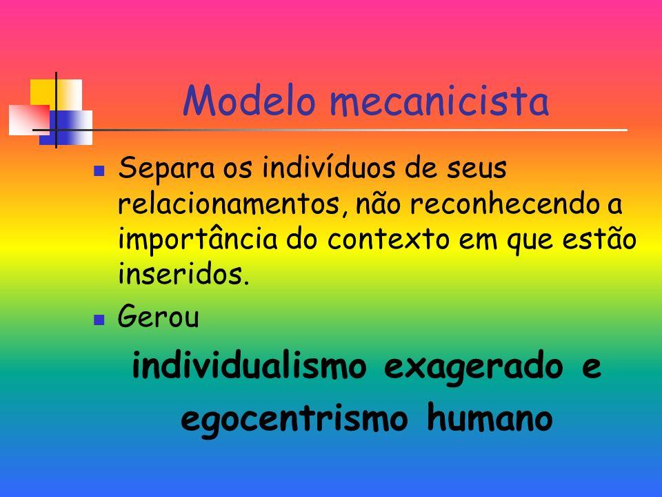 Modelo mecanicista Separa os indivíduos de seus relacionamentos, não reconhecendo a importância do contexto em que estão inseridos.