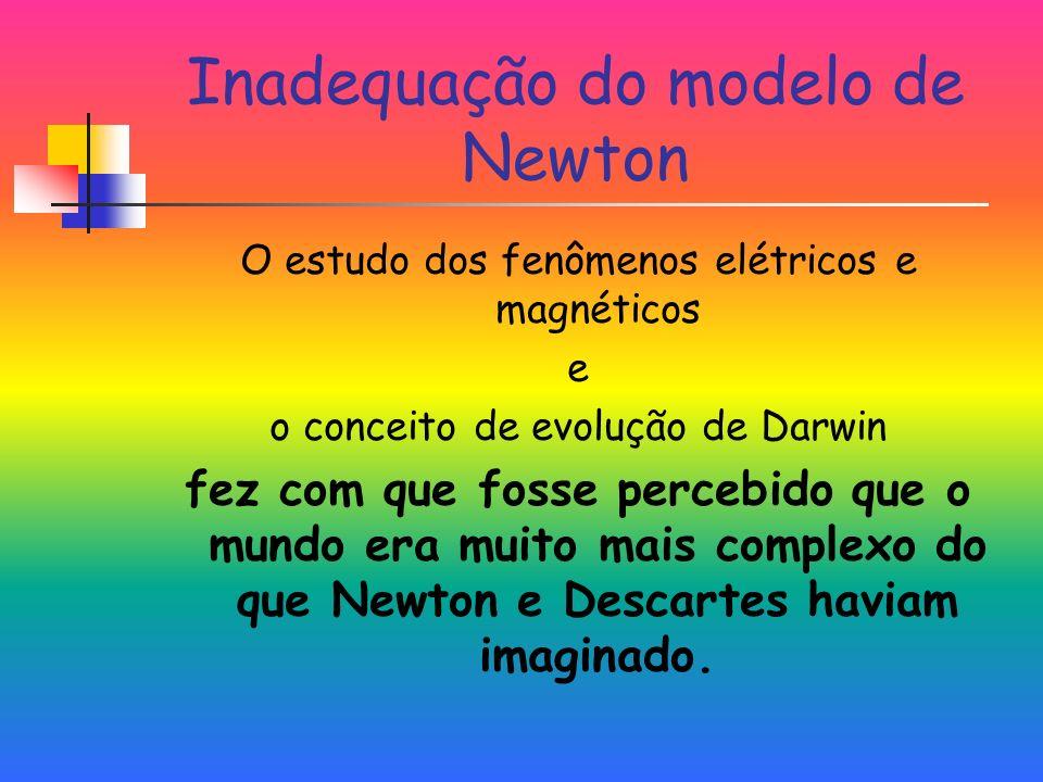 Inadequação do modelo de Newton O estudo dos fenômenos elétricos e magnéticos e o conceito de evolução de Darwin fez com que fosse percebido que o mundo era muito mais complexo do que Newton e Descartes haviam imaginado.