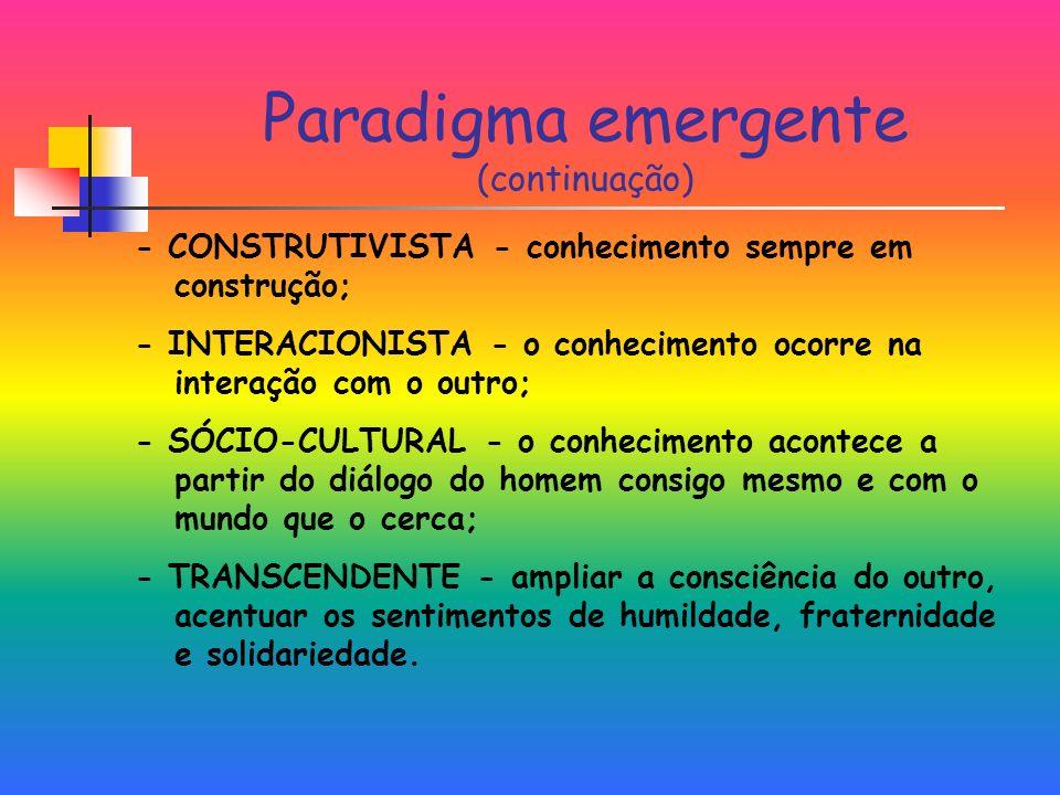 Paradigma emergente (continuação) - CONSTRUTIVISTA - conhecimento sempre em construção; - INTERACIONISTA - o conhecimento ocorre na interação com o outro; - SÓCIO-CULTURAL - o conhecimento acontece a partir do diálogo do homem consigo mesmo e com o mundo que o cerca; - TRANSCENDENTE - ampliar a consciência do outro, acentuar os sentimentos de humildade, fraternidade e solidariedade.