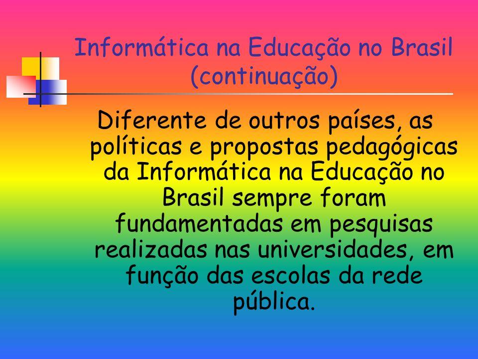 Informática na Educação no Brasil (continuação) Diferente de outros países, as políticas e propostas pedagógicas da Informática na Educação no Brasil sempre foram fundamentadas em pesquisas realizadas nas universidades, em função das escolas da rede pública.