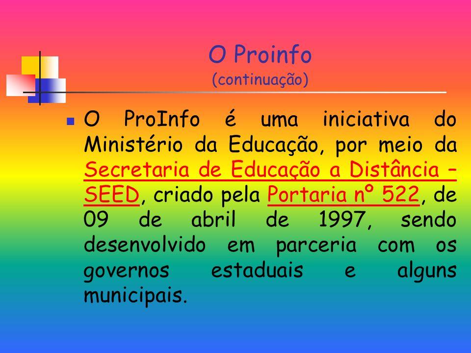 O Proinfo (continuação) O ProInfo é uma iniciativa do Ministério da Educação, por meio da Secretaria de Educação a Distância – SEED, criado pela Portaria nº 522, de 09 de abril de 1997, sendo desenvolvido em parceria com os governos estaduais e alguns municipais.