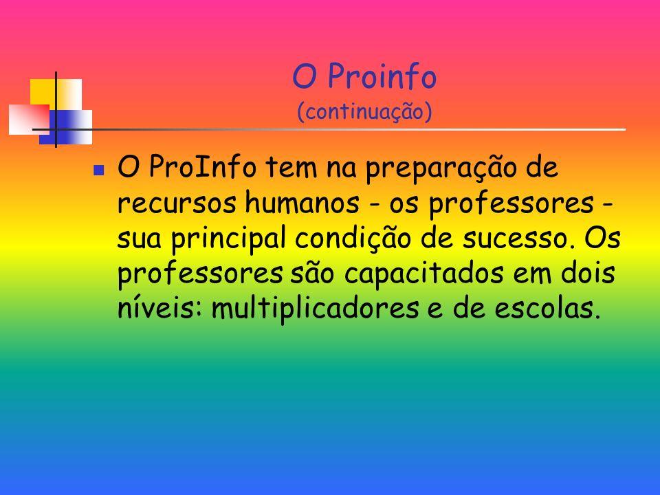 O Proinfo (continuação) O ProInfo tem na preparação de recursos humanos - os professores - sua principal condição de sucesso.