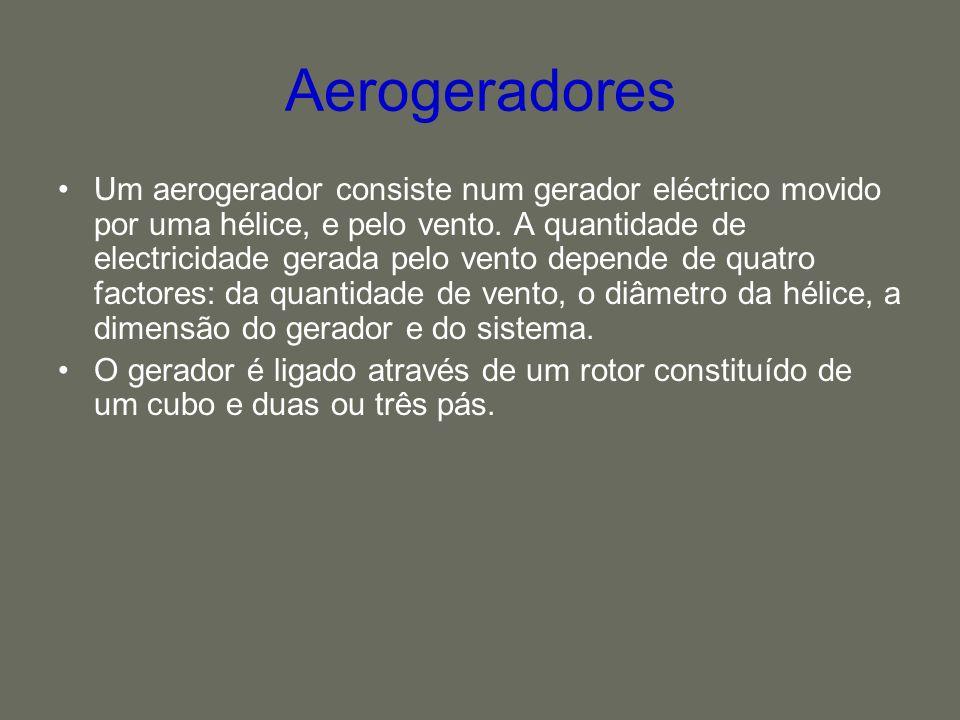Aerogeradores Um aerogerador consiste num gerador eléctrico movido por uma hélice, e pelo vento. A quantidade de electricidade gerada pelo vento depen