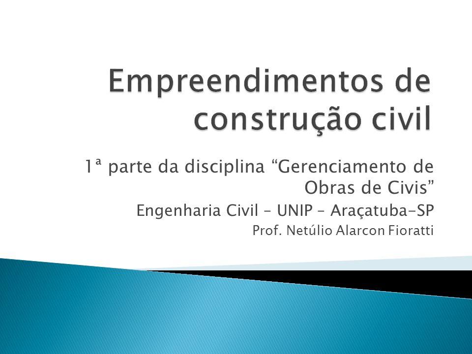 1ª parte da disciplina Gerenciamento de Obras de Civis Engenharia Civil – UNIP – Araçatuba-SP Prof. Netúlio Alarcon Fioratti