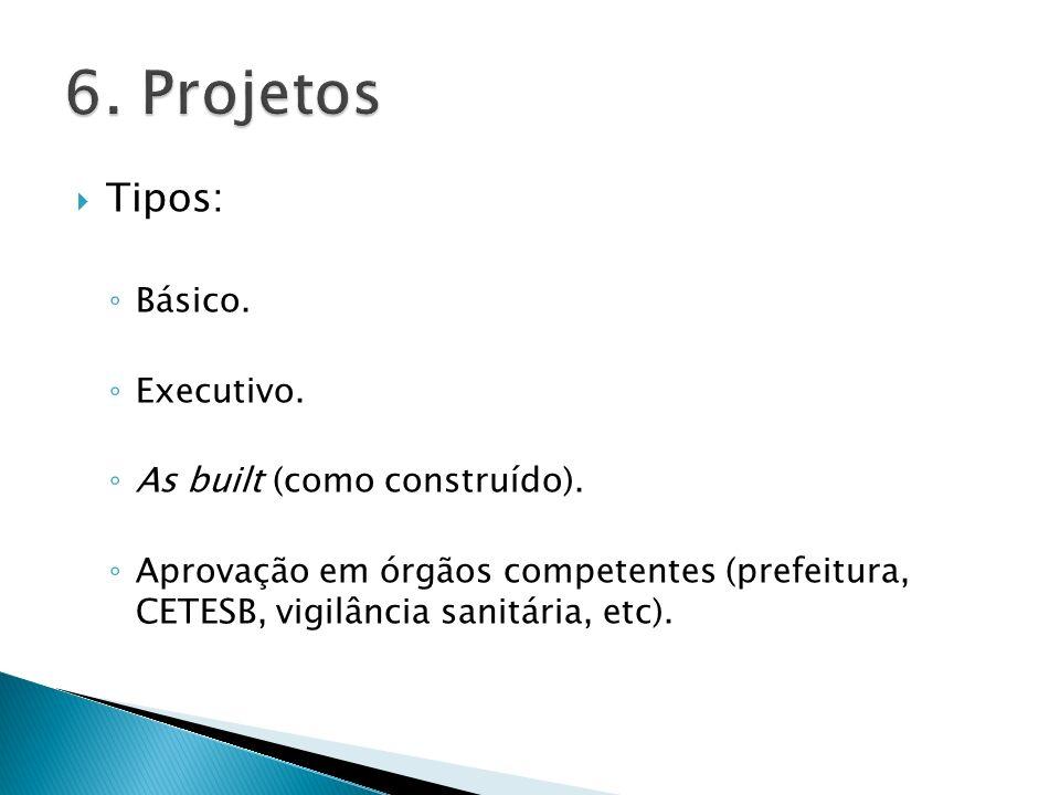 Tipos: Básico. Executivo. As built (como construído). Aprovação em órgãos competentes (prefeitura, CETESB, vigilância sanitária, etc).